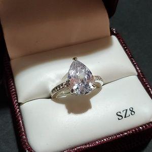 Pear CZ & Silver Tivoli Ring